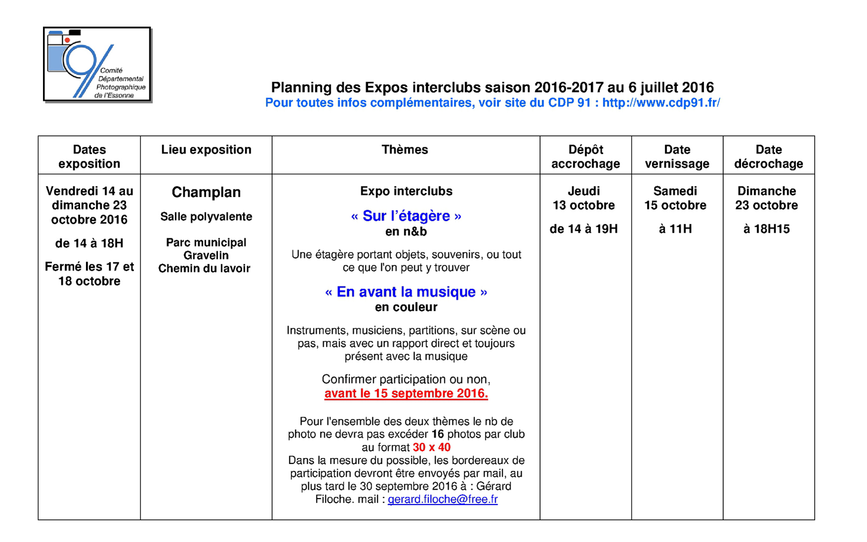 Planning prévisionnel des expos interclubs CDP91 saison 2016-17 version 02 page 1