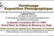 Invitation au vernissage de l'expo interne de L'Espace Photo le samedi 4 novembre à 11H00 au Château de Morsang