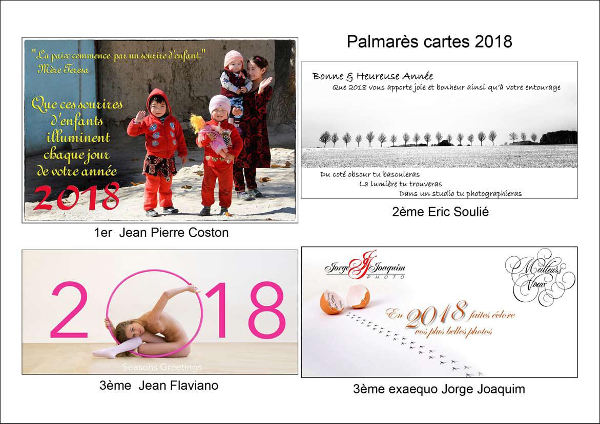 Palmarès du concours de la Carte de Voeux 2018 des adhérents de L'Espace Photo