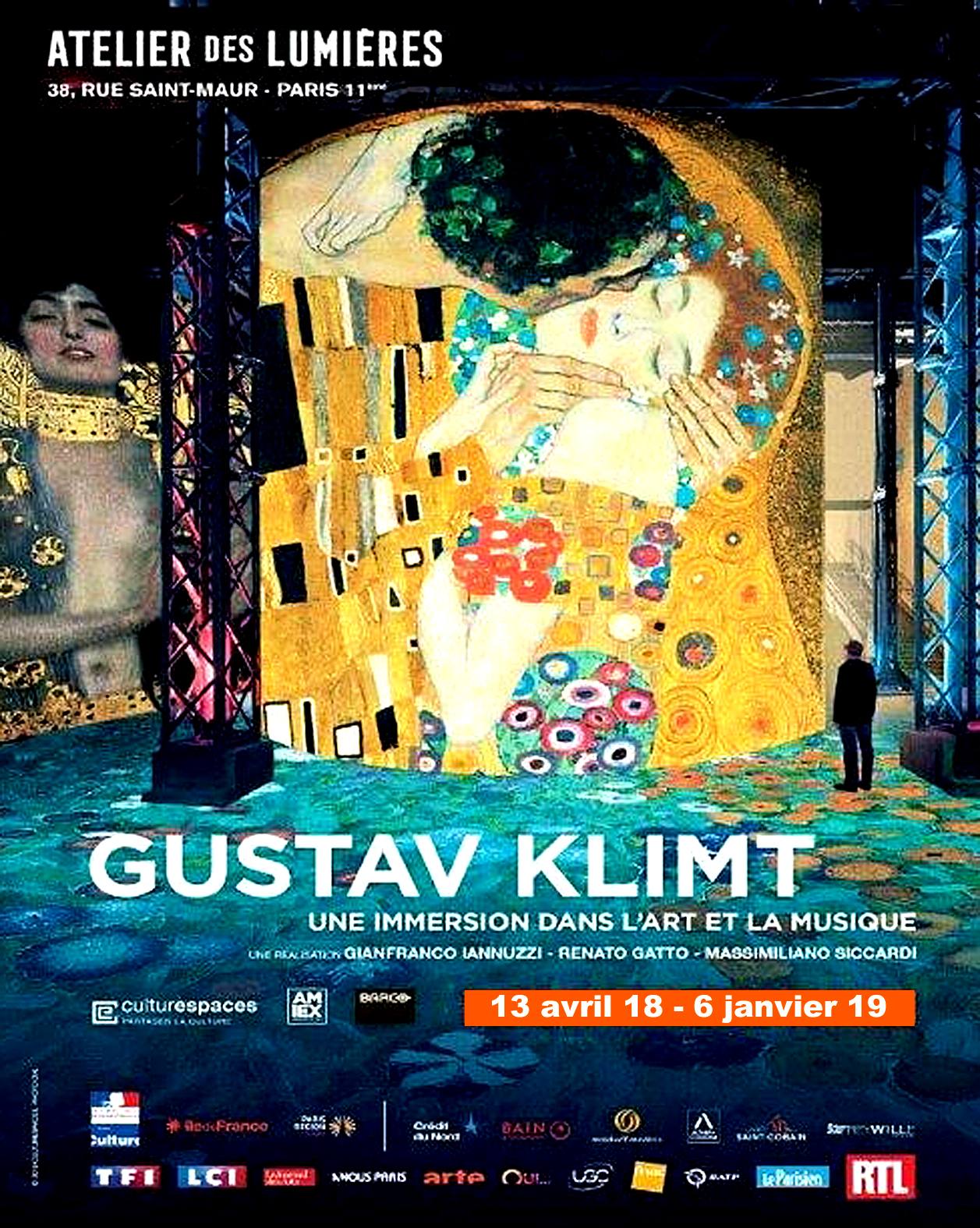 parrcours visuel immersif dans l'oeuvre du peintre Gustav Klimt à l'Atelier des Lumières